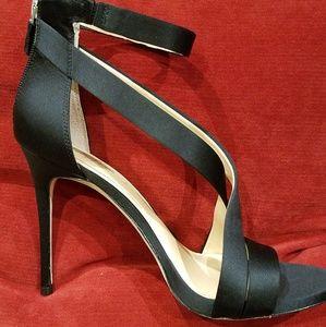 Stunning Black Satin Strappy Sandals